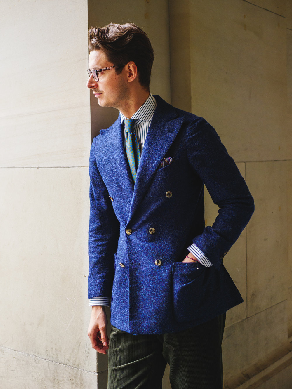 MTM Calder Jacket, paired with MTM Vanacore Napoli Shirt, Viola Milano Tie, and Chad Prom Trousers. All available at Calder Sartoria.