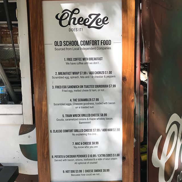 CHEEZEE DOES IT 7am  free coffee with breakfast come on down for som amazing food and groovy tunes, start your day off the cheeZEE WAY. #bestbreakfast  #vancouverfoodie  #creativebc  #vancouver  #bestfoodtruck