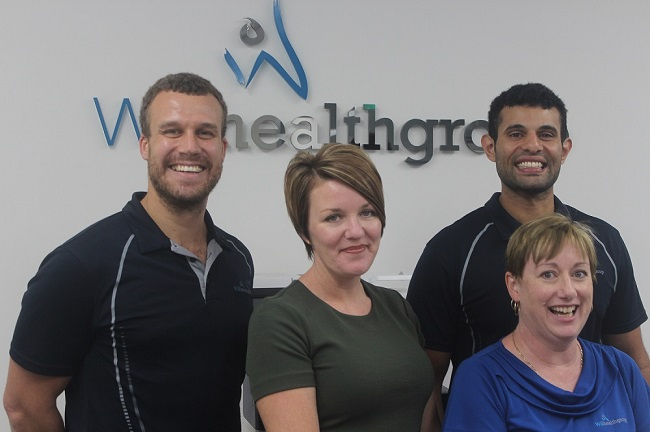 Chris and Lennon, owners of WA Health Group, with Office Manager Fiona and Receptionist Sharon.