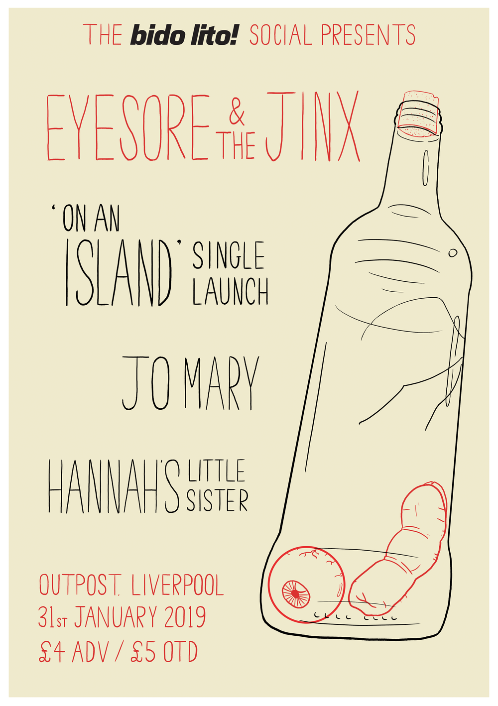 Promotional poster for Eyesore & the Jinx 'On and Island' Single Launch.   Published in Bido Lito! #95 2018