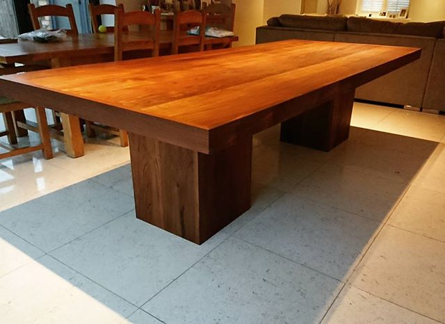 Just installed our reclaimed Teak dining table. One happy customer and one bad back. #teak #re4med #reclaimedteak #table #bespoke #reclaimed #reclaimedwood