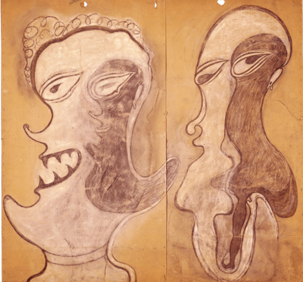 Deux visages (two faces) (1917-22) by Heinrich Anton Müller. From the Collection de l'Art Brut .
