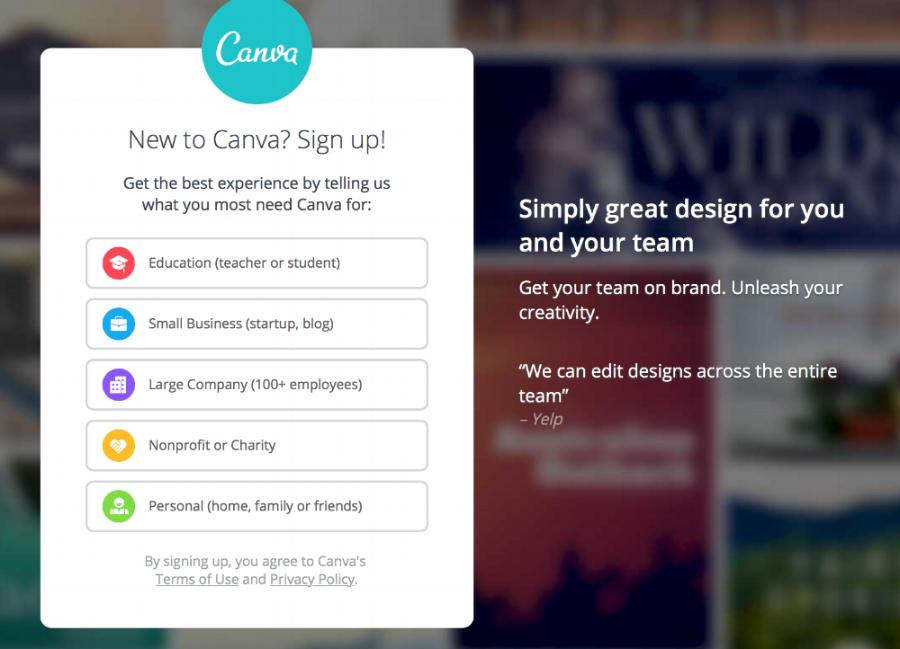 La page d'accueil de Canva affiche des options graphiques correspondant à vos besoins spécifiques.