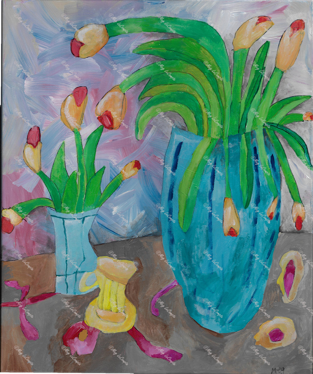 Two Vases with Yellow Tulips