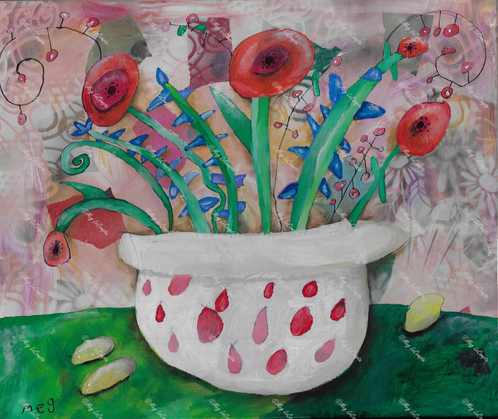 The Red Flowers in the White Vase