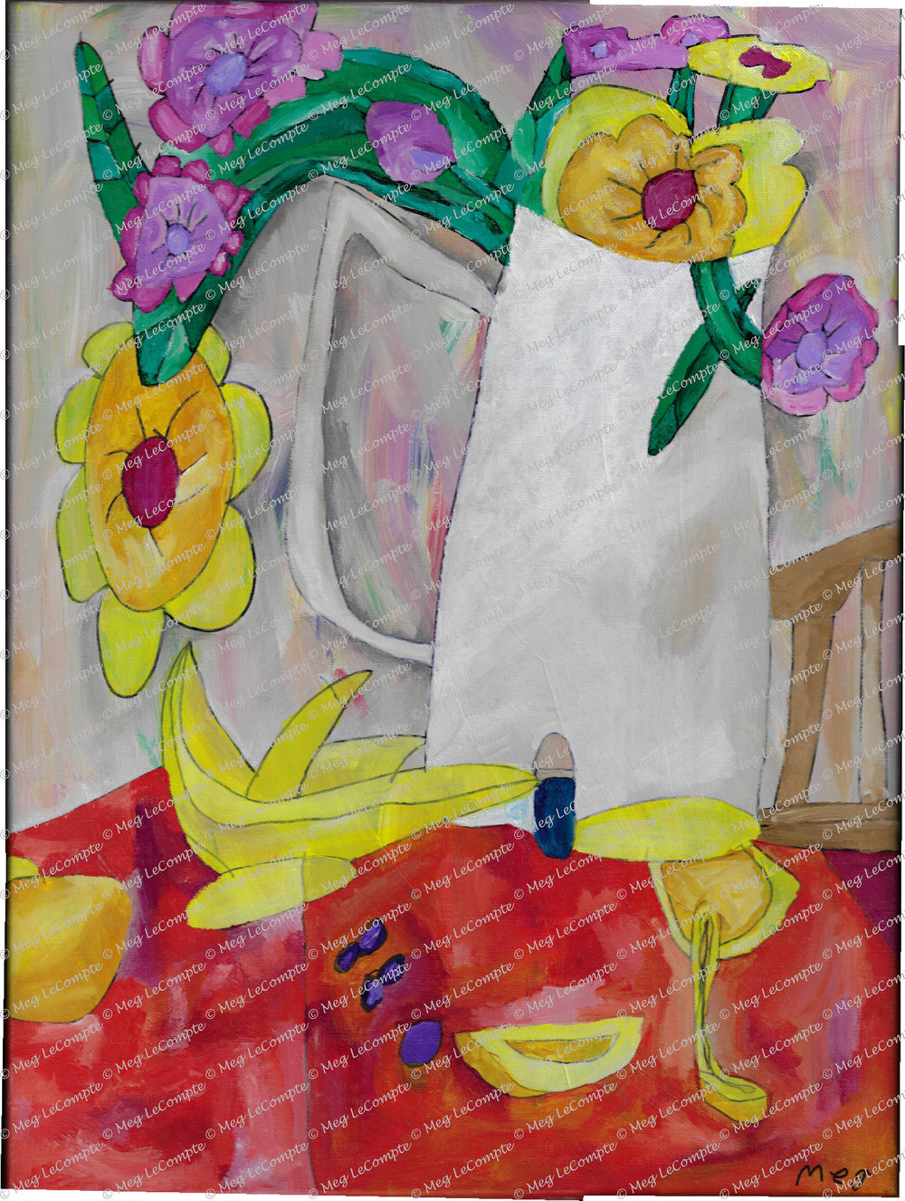 Flowers in the Vase at the Table