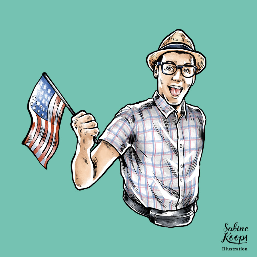 Sabine_Koops_Illustration_Illustrator_Werbung_advertising_1_Tourist_USA_Amerika_Freude_nerd.jpg