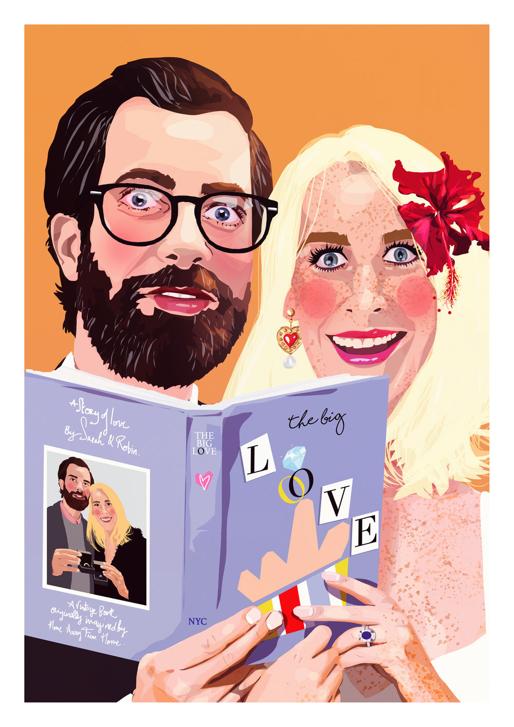 Couple portrait print on giclee high quality paper commissionned as a wedding gift.