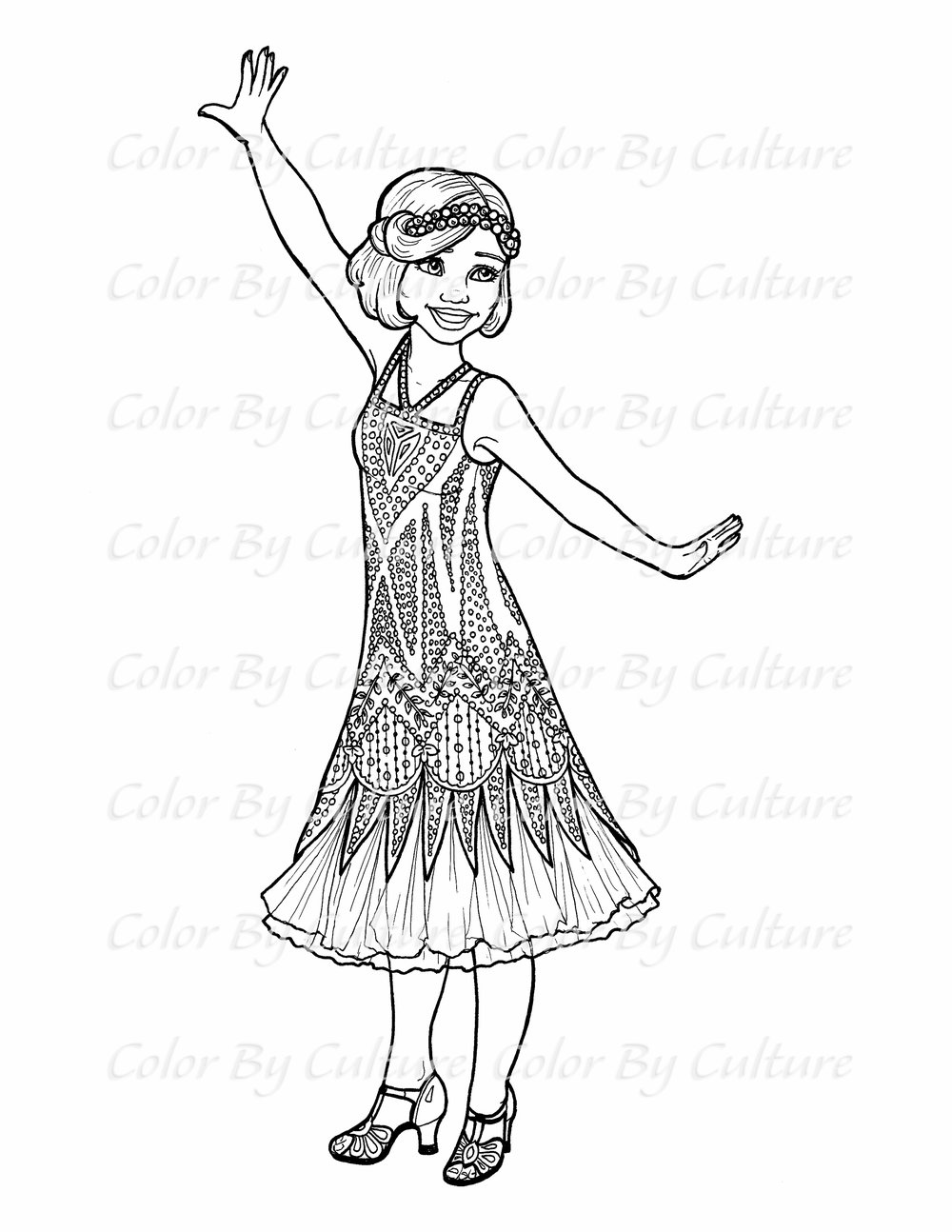 1920 s flapper girl coloring page color by culture Flapper Girl Fashion 1920 s flapper girl coloring page