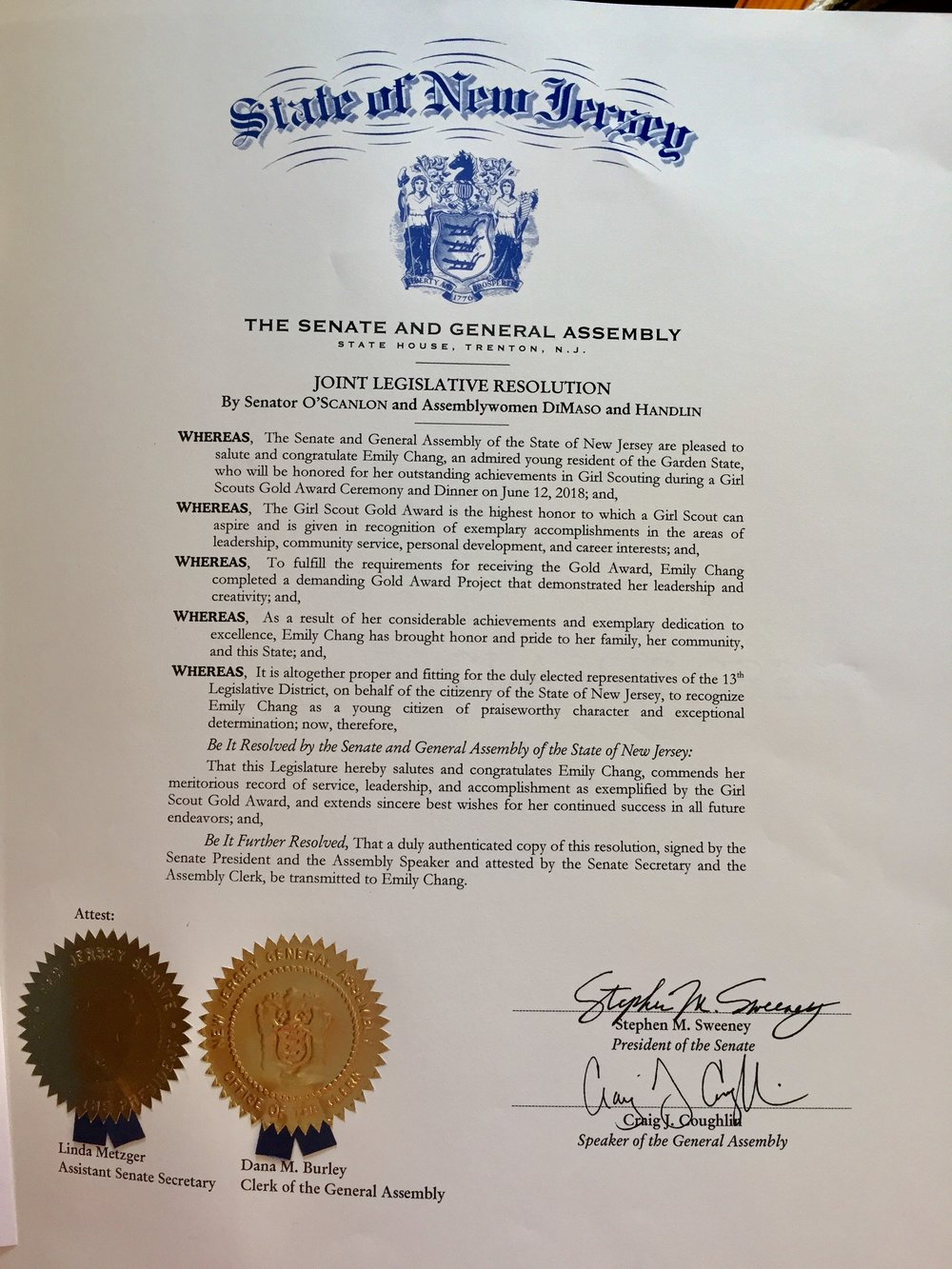 NJ Senator & Governor Proclamations