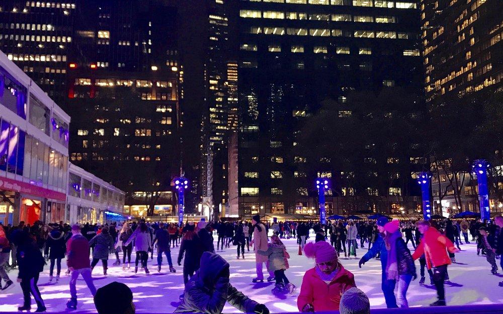 Bryant Park Skating on Thxsgiving Eve