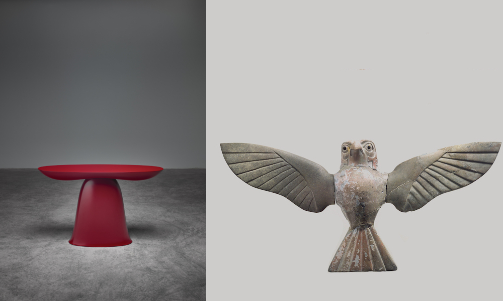Teyrebaz is inspired by ancient depictions of a hawk, signifying the hunter, part of the MET's permanent collection. The principle of this side table is similar to object Hunebench and made of wood covered in a red car paint coating. Size: 800 x 500 x 200 mm. Craftsman: Rutger Graas. Photography: Erich & Petra Smerg.