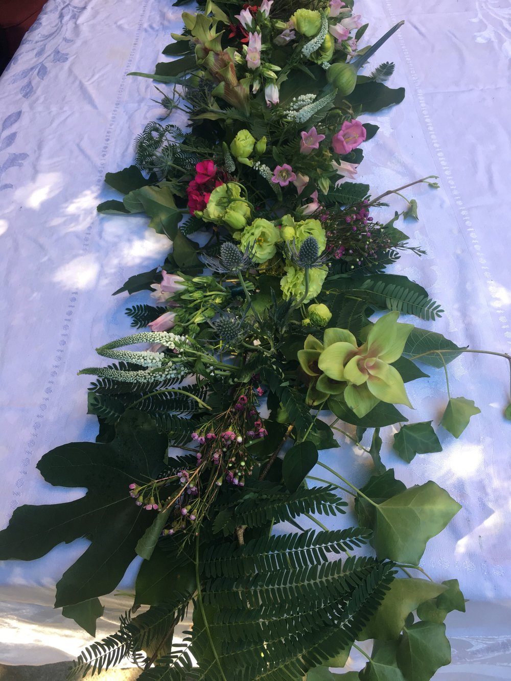Recent arrangement for a wedding - first garland!