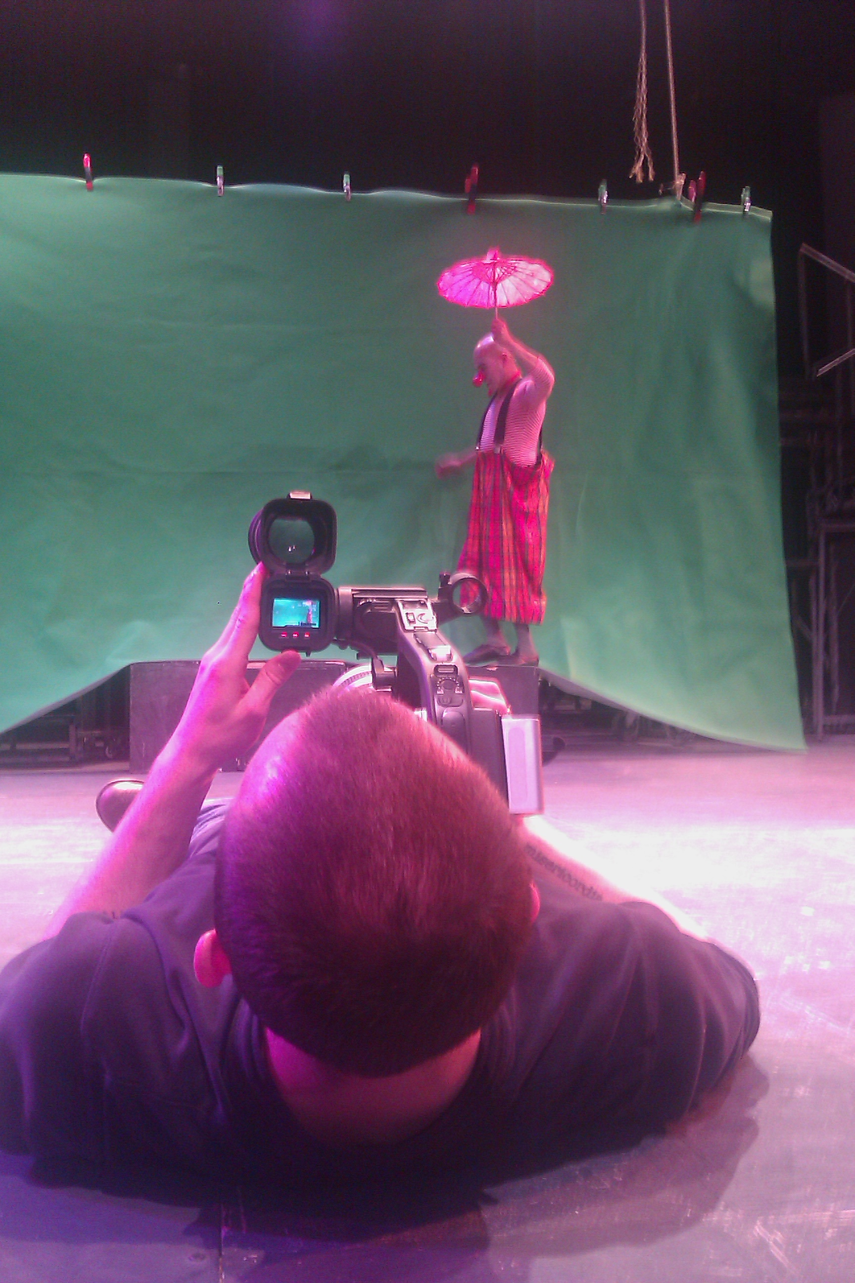 "Matthew Hill shooting Tony Duran for ""Walking the Tightrope"" at 24th ST Theatre."
