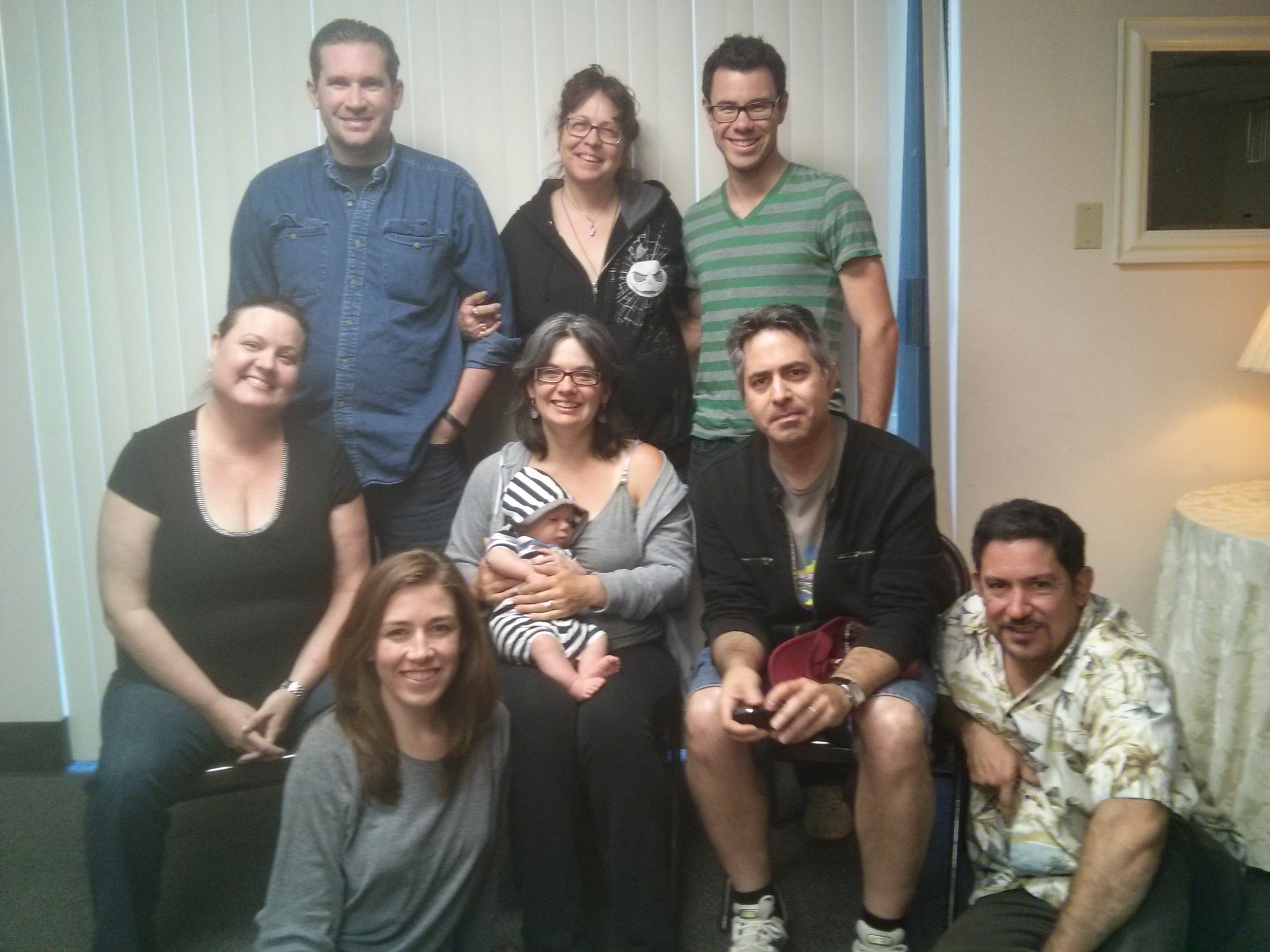 Steering Committee & Associate Producers of Directors Lab West 2014, at our last meeting before the 15th Anniversary Lab. Douglas Clayton, Janet Miller, Doug Oliphant, Che'Rae Adams, me and Lil' Pirate Dude, Richard Tatum, Diana Wyenn and Ernest Figueroa.