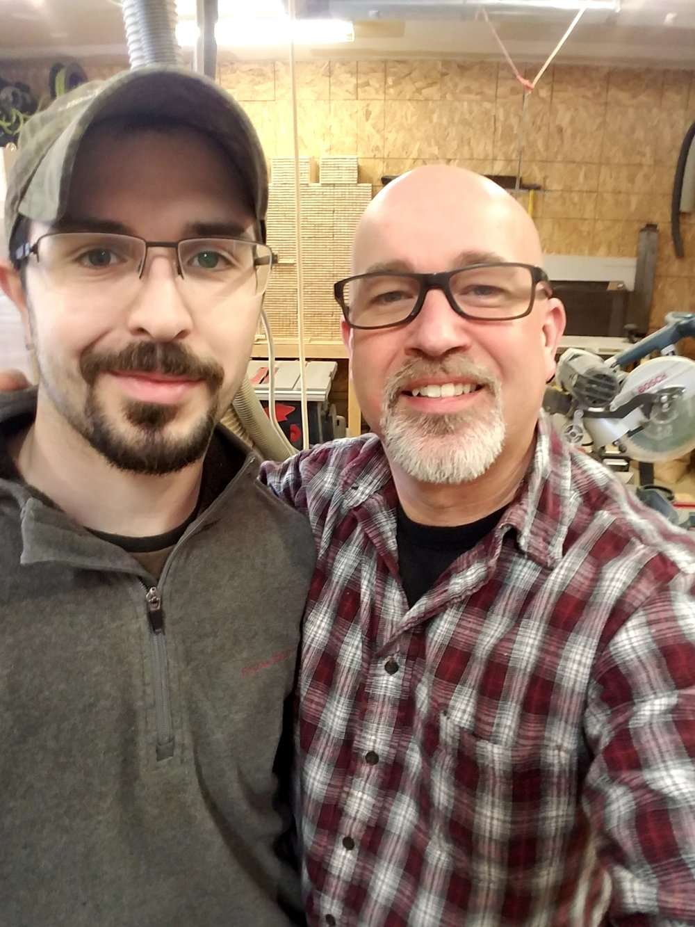 Teakwood Organics founder Chris Harvey (right) with long-time employee, friend and expert craftsman Cody Seekamp.