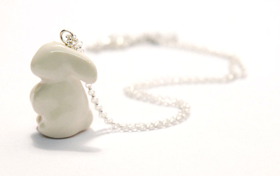 Bunny Necklace  Glazed porcelain rabbit on a 40 cm, 55 cm or 70 cm long silver chain