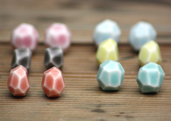 Faceted Stone Stud Earrings
