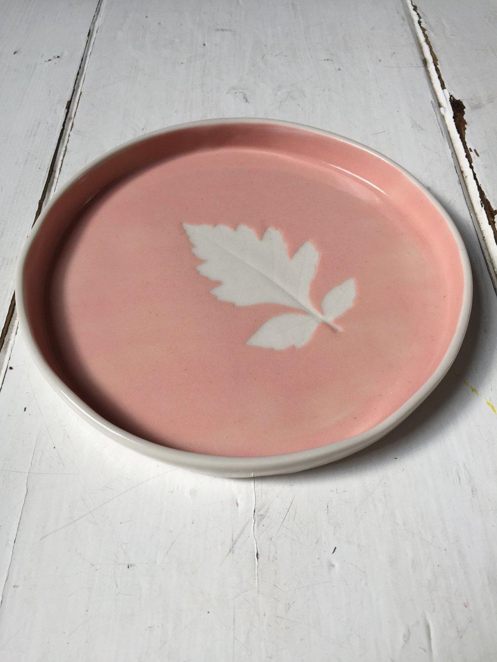 Coral Pink Leaf Dish