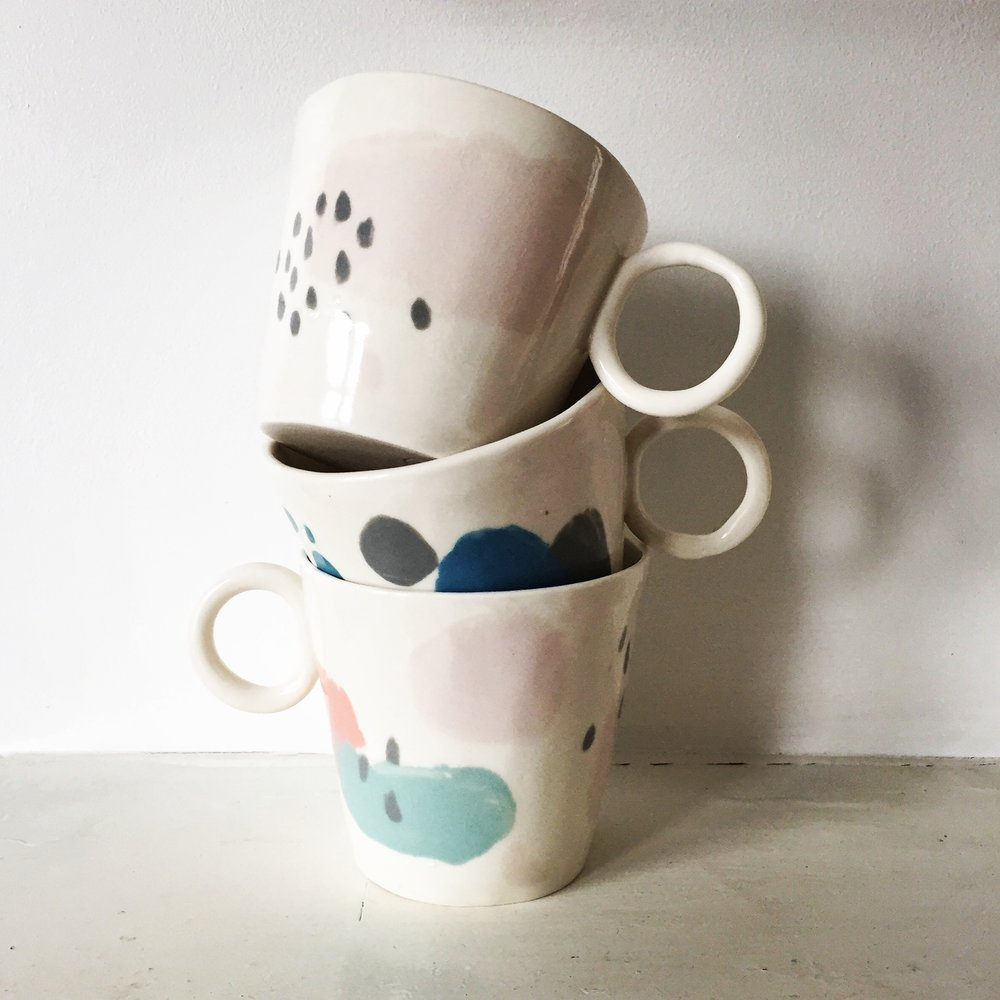 Abstract Pattern Big Mugs  Intuitively decorated with various coloured slips. 9.5 cm tall. Also available in smaller 8 cm tall version.