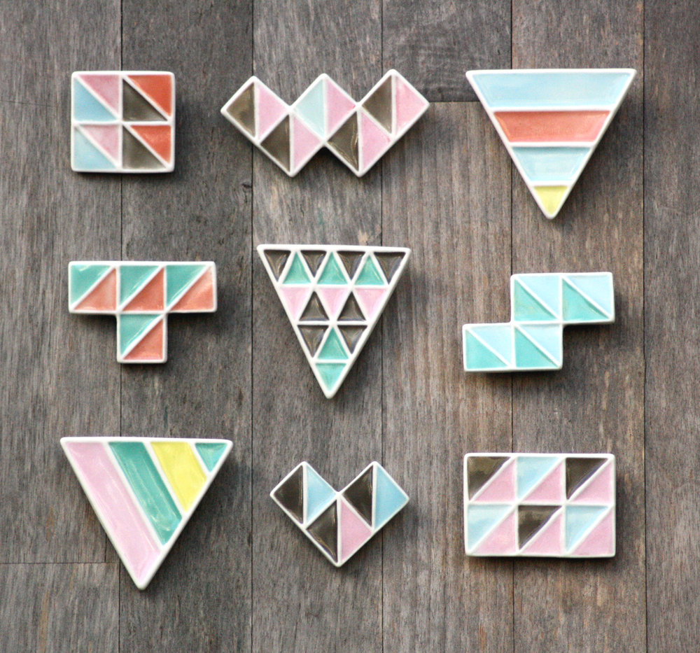 Geometric Porcelain Brooches