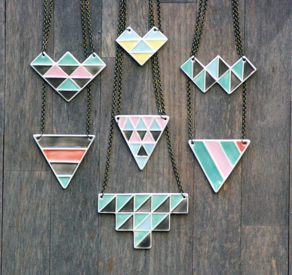 Geometric Necklaces  Glazed porcelain on a 45 cm antique gold coloured chain.