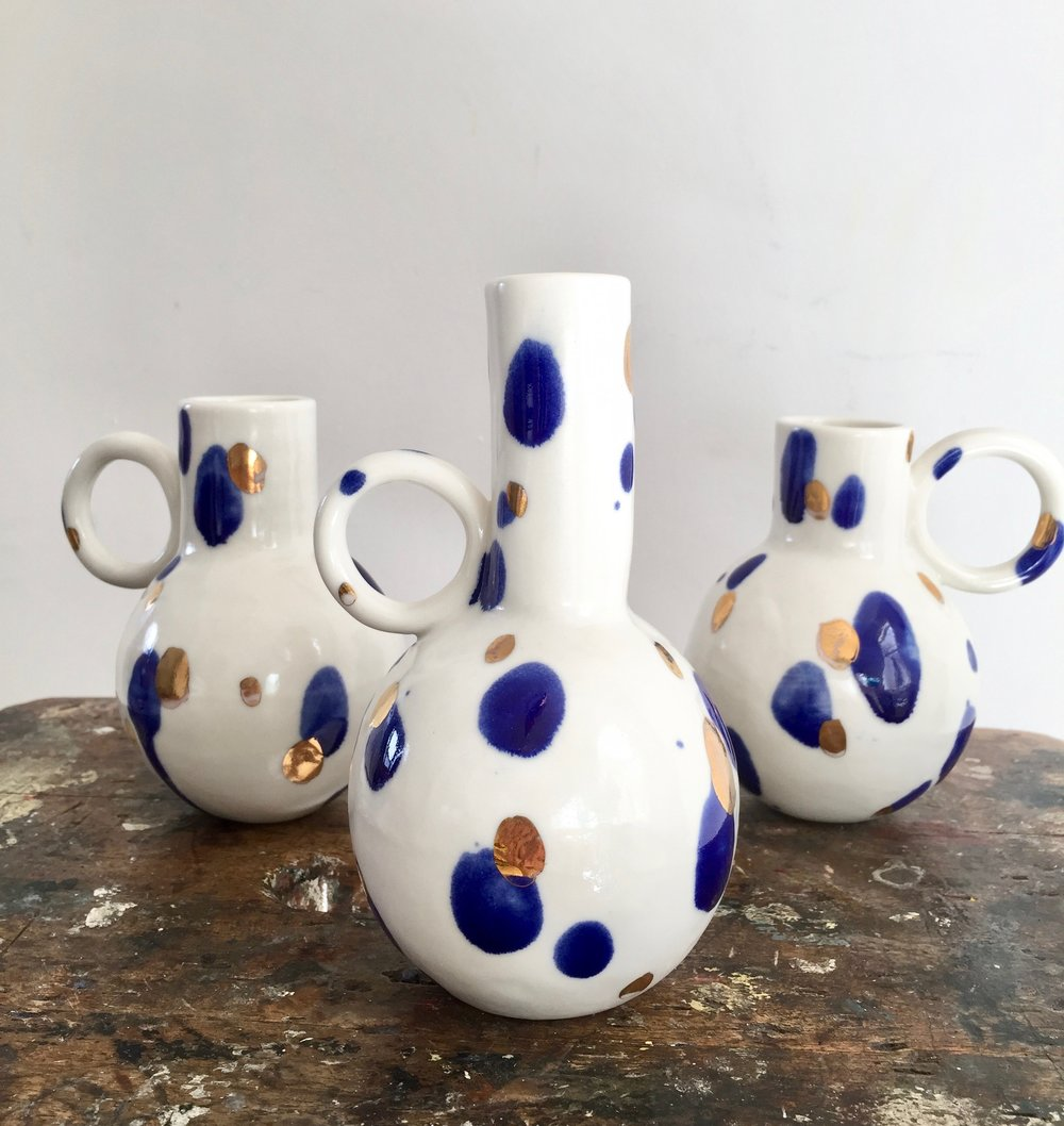 Splodge Vases  Unique hand built porcelain vases, with deep cobalt glaze and gold lustre. 12 to 15 cm tall.
