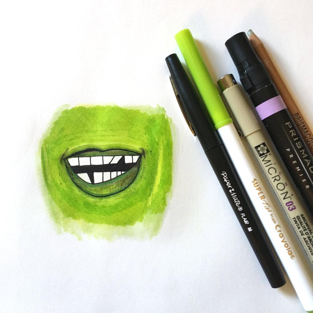 Inktober illustration - Papermate ink pen, Crayola marker, color pencil, Micron, Prismacolor marker, and prismacolor color blending pencil on Bristol drawing pad.
