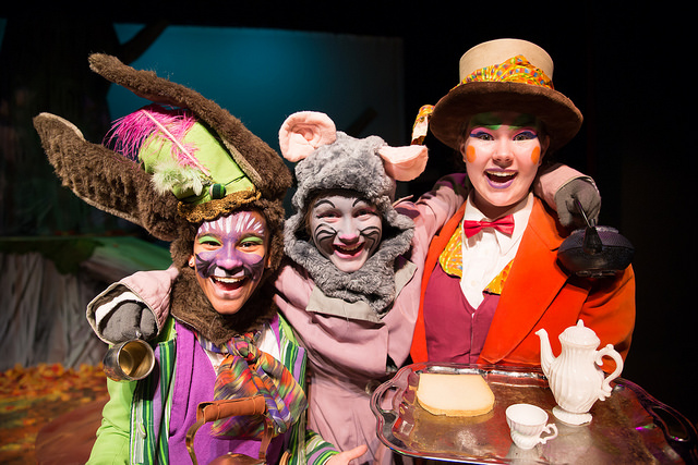 Alana as the March Hare (left), with her pals the Mad Hatter & the Dormouse in our 2017 production of  Alice in Wonderland.