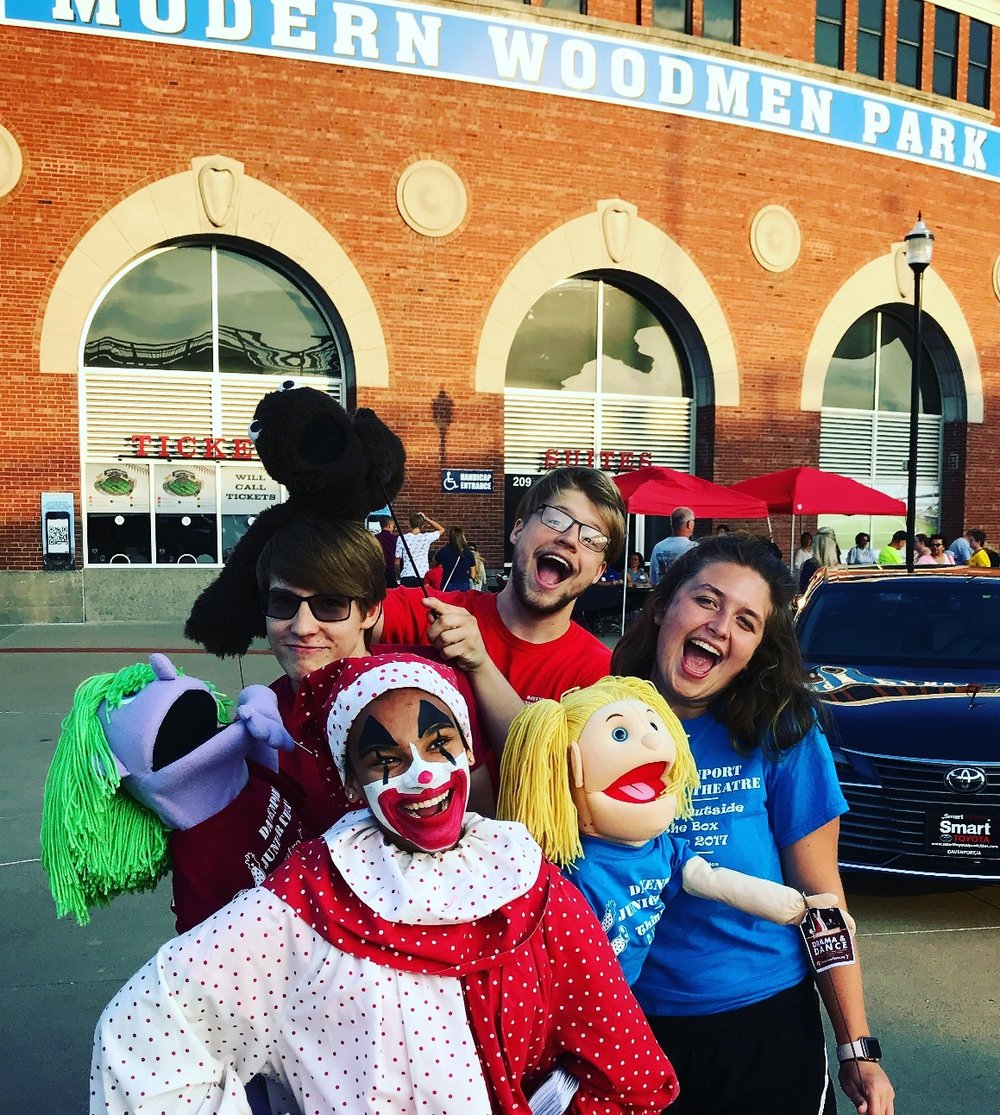 "Alana as Showtime Pal, out and about with theatre friends and puppets at  Modern Woodmen Park . She sang ""Take Me Out to the Ballgame"" at the 7th inning stretch!"