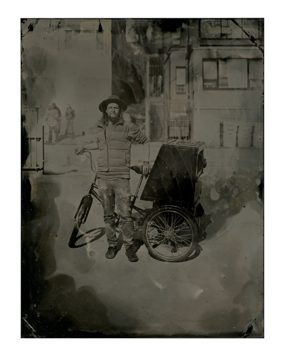 The First Plate ever made with the Trike, Self portrait March 20, 2017.  The box on the back of the trike is the darkroom that I work out of while making the plates.