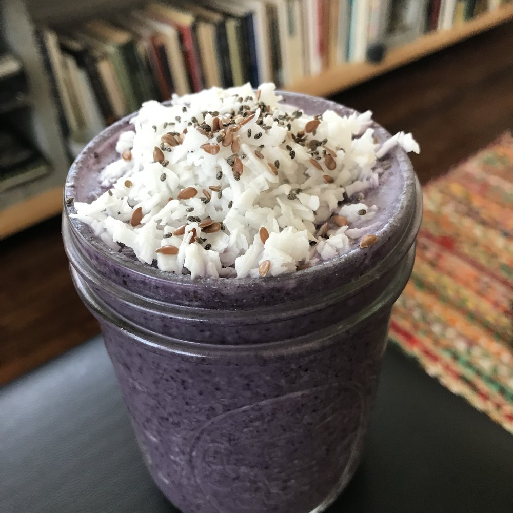 Blueberry Smoothie Recipe - 1 banana1/2 cup of wild blueberries (frozen)1 cup of milk (any kind)1 whole, pitted date1/4 cup of hydrated walnuts (soak overnight & strain)1/2 cup of shredded coconut (unsweetened)1 tablespoon of flax and/or chia seeds1 tablespoon of cacao nibs (optional)Blend together until smooth & top with hydrated coconut and seeds. Enjoy!