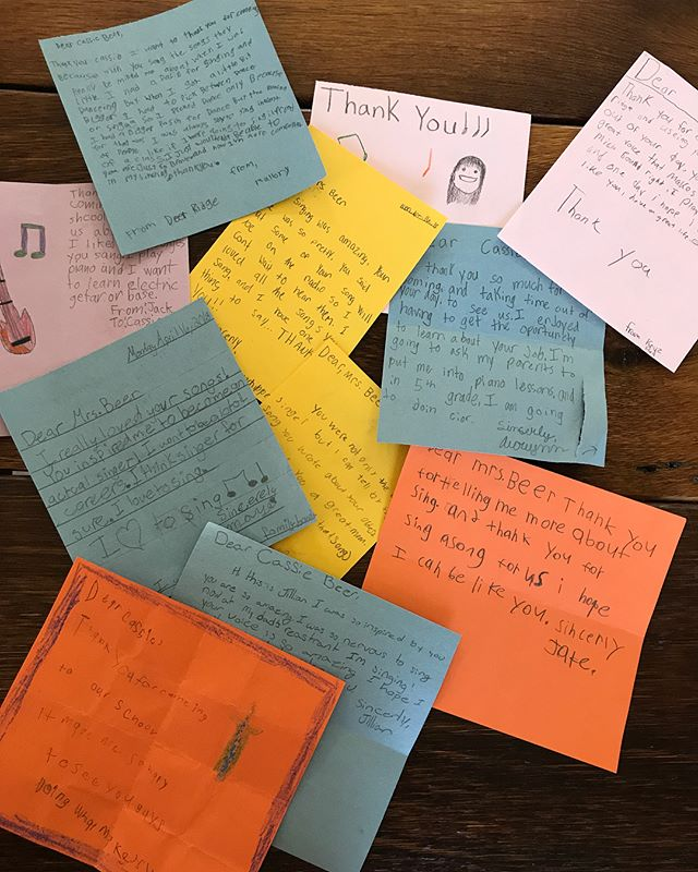 A couple weeks ago I was invited to Deer Ridge Elementary for career day, and I got to talk with an awesome group of fourth graders. We talked about what it's like to record in a studio and they asked questions about how to write songs. It was so much fun, and today I opened up the sweetest package of thank you cards from them. Love how our local schools are committed to investing in the arts. Day made! ❤️ cjb