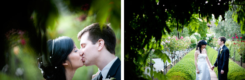outdoor summer wedding at Allied Arts Guild in Menlo Park, California