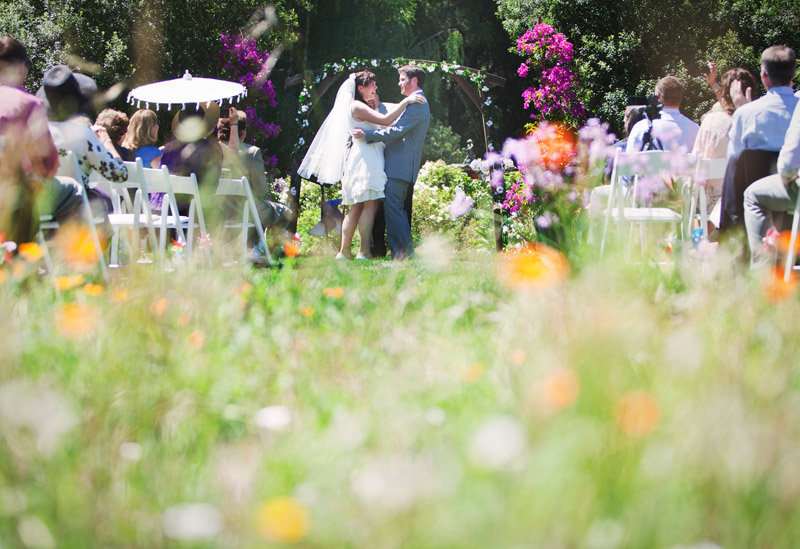 fairy tale summer wedding at private estate in woodside, california, in august 2011.