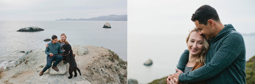 Tatyana and Daniel pose for their engagement session above Marshall's Beach in the Presidio.