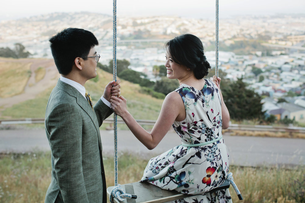 Randa and Chrisna on the swing during their Bernal Hill engagement session.