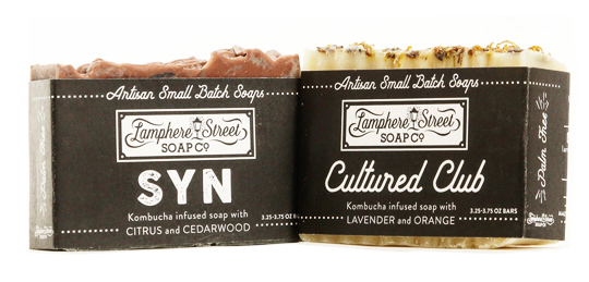 Lamphere Street Soap's SYN and Cultured Club soaps both utilize Barrel + Brine's spent SCOBY  for a creamy and enriching all vegan soap.    Soaps available at Barrel + Brine Shop, and at Lamphere Street Soap Co.     SYN   -  Kombucha SCOBY Infused Soap w/ Citrus + Cedarwood   Cultured Club -  Kombucha SCOBY Infused Soap w/ Lavender + Orange