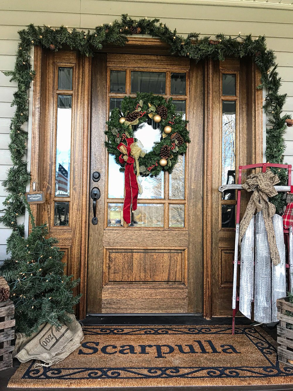 *Tip I\u0027m not a fan of the \ over the door\  wreath hooks so I put a black command hook on the glass behind the wreath. & Decor Essentials for a Welcoming Front Door for the Holidays \u2014 The ...