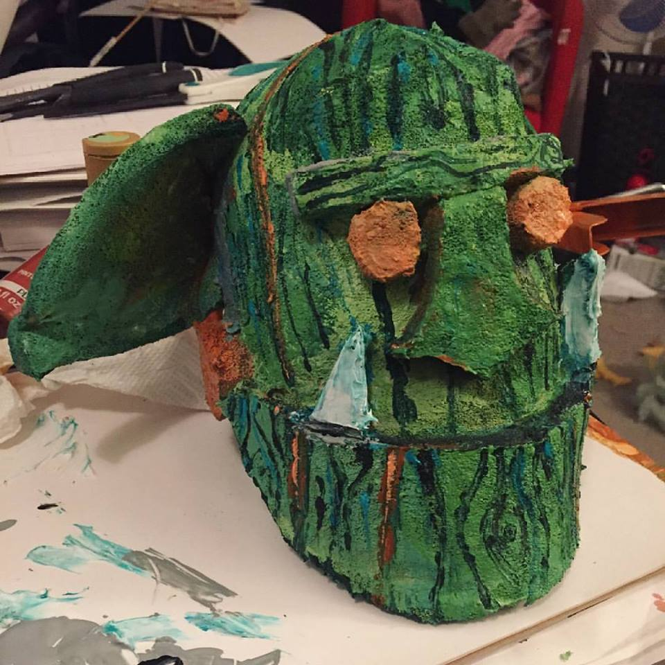 Paint treatment on each goblin puppet and mask