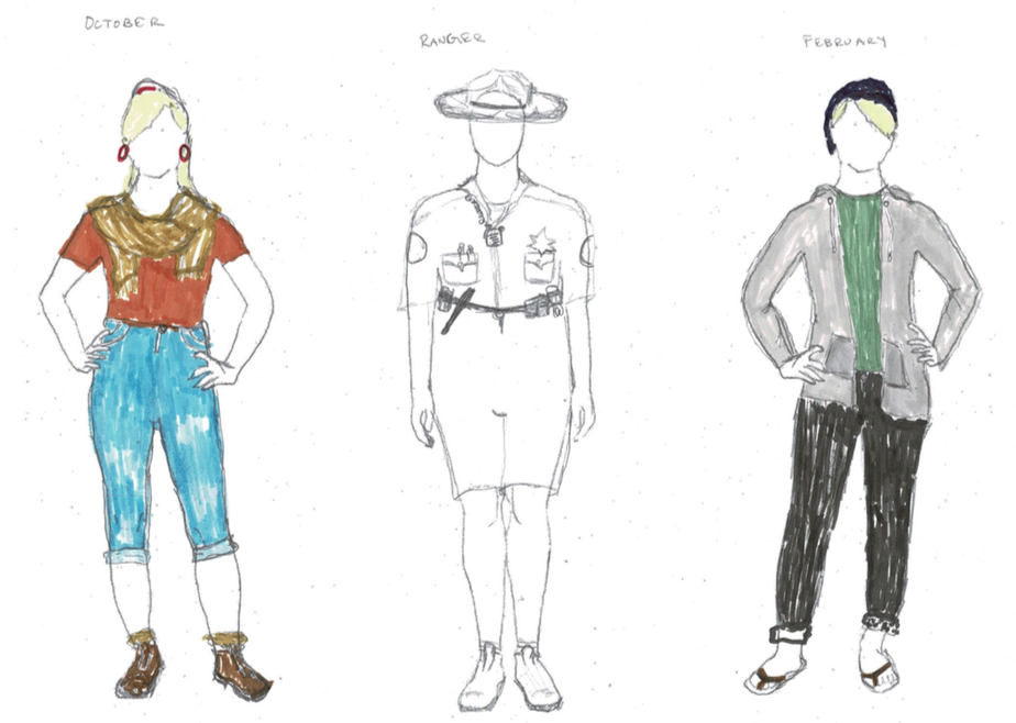 Preliminary Sketches for October, Ranger Dave, and February