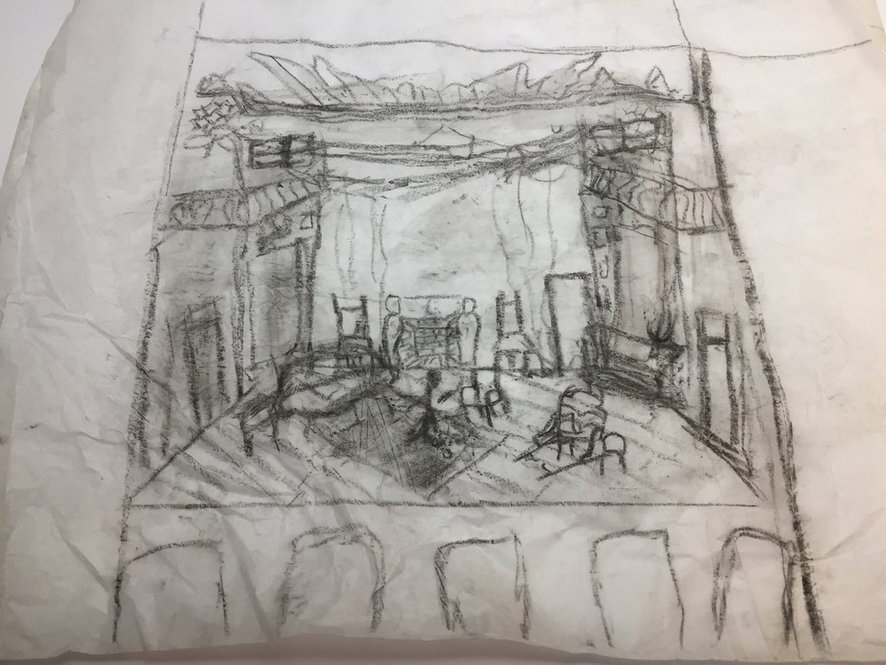 Preliminary rendering in charcoal