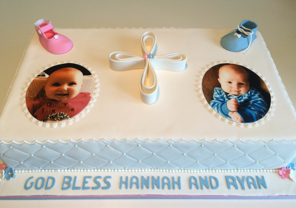 A christening cake for two little angels