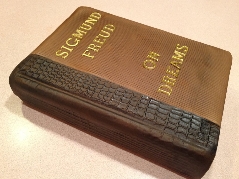 Leather-like antique book cake