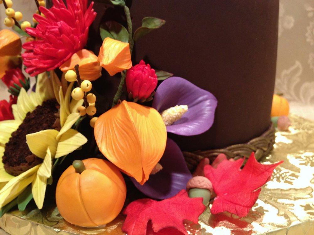 An autumnal arrangement, hand-made in sugar