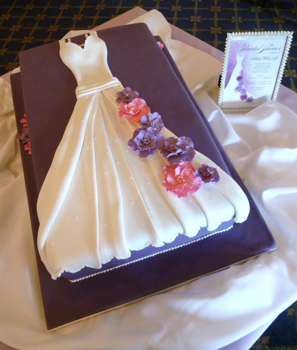 Bridal shower wedding-dress cake