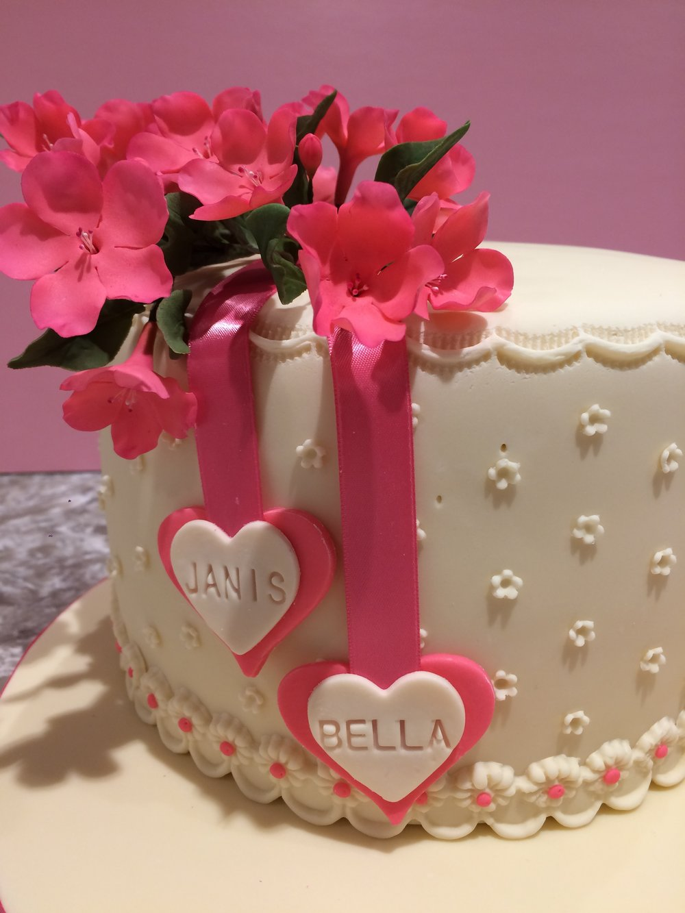 A mother-daughter birthday cake