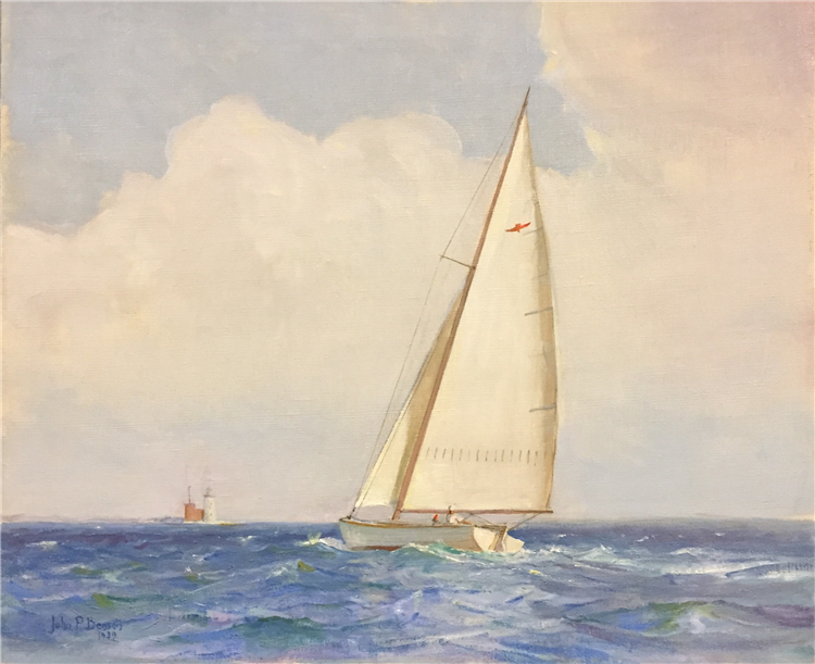Sloop Sailing off Whaleback Light , Oil on Canvas
