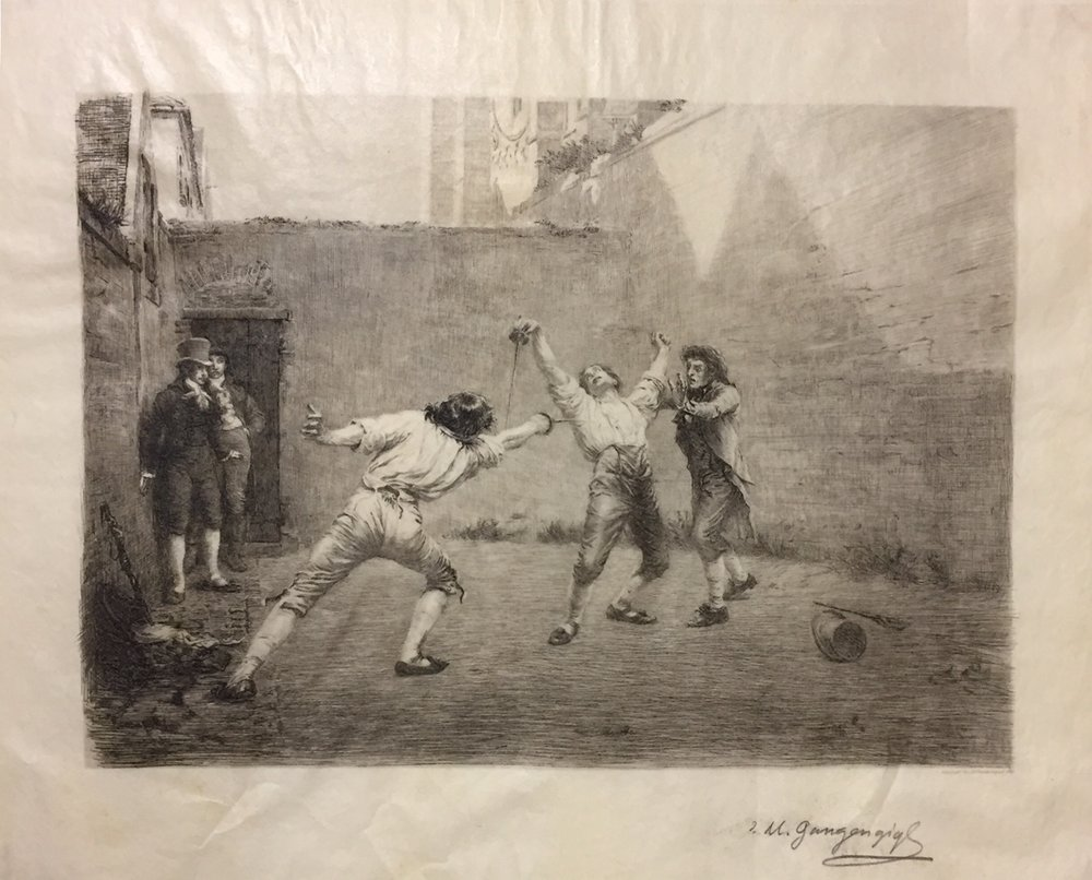 The Duel , Etching on parchment like paper
