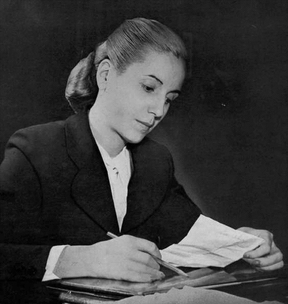 """THE WILL TO VOTE - Although she never held any government post, Eva acted as de facto minister of health and labour, awarding generous wage increases to the unions, who responded with political support for Perón. After cutting off government subsidies to the traditional Sociedad de Beneficencia (Spanish: """"Aid Society""""), thereby making more enemies among the traditional elite, she replaced it with her own Eva Perón Foundation, which was supported by """"voluntary"""" union and business contributions plus a substantial cut of the national lottery and other funds. These resources were used to establish thousands of hospitals, schools, orphanages, homes for the aged, and other charitable institutions. Eva was largely responsible for the passage of the woman suffrage law and formed the Peronista Feminist Party in 1949. She also introduced compulsory religious education into all Argentine schools. In 1951, although dying of cancer, she obtained the nomination for vice president, but the army forced her to withdraw her candidacy."""